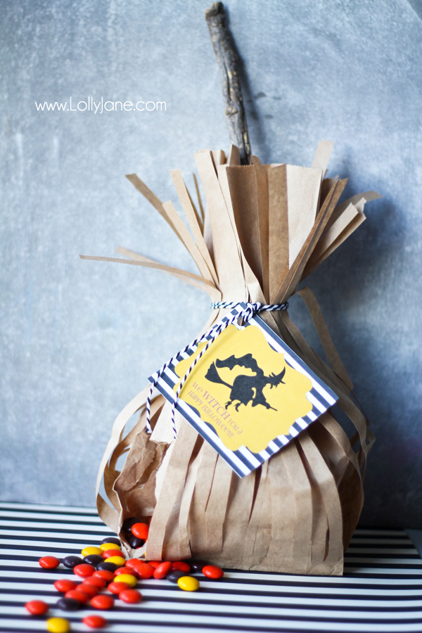 Witch Broomstick Halloween Party Treat Bags