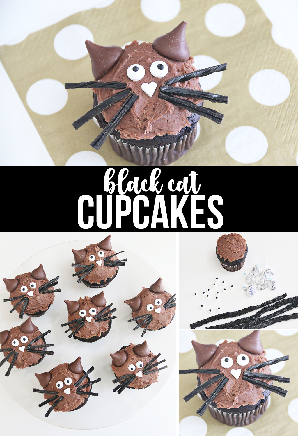 Black Cat Cupcakes for Halloween