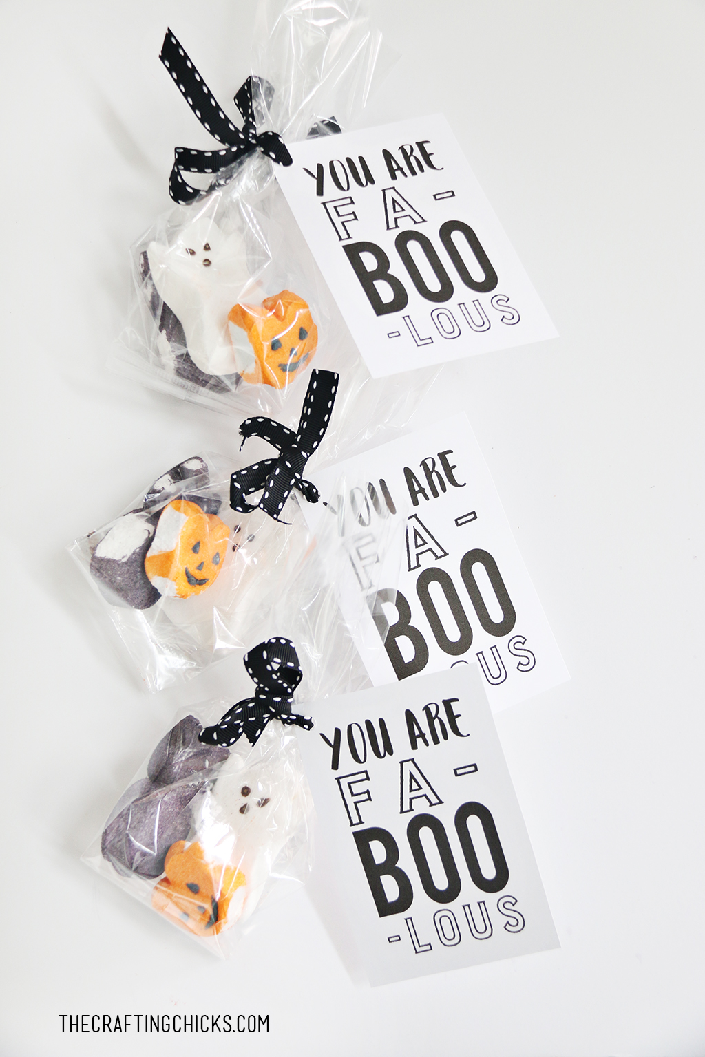 "Fa ""BOO"" Lous Halloween Treat Tag tied to gift sacks with Peeps Candy Treats"