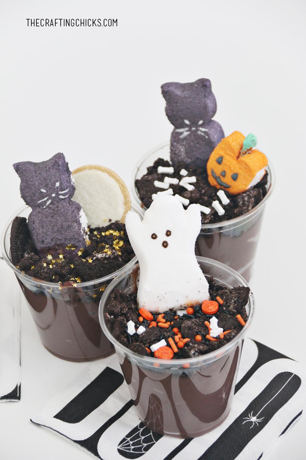 Peeps in the Graveyard Halloween Dessert
