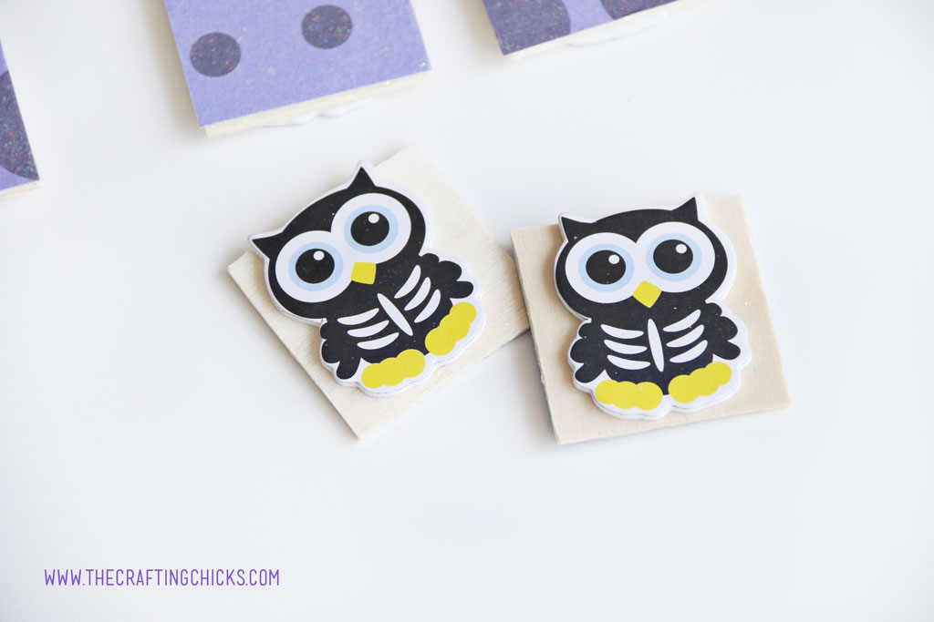 Puffy Owl Stickers on wooden squares to make Halloween Owl Memory Game