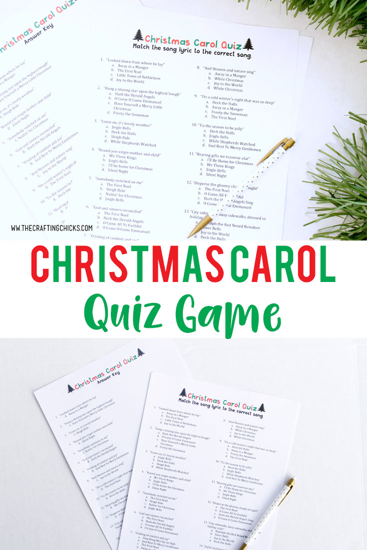 Every Christmas party needs a fun game or 2. Everyone will love racing to be the first to finish this Christmas Carol Quiz Game correctly. #christmasgames #christmascarolgame #christmasgamesforparites