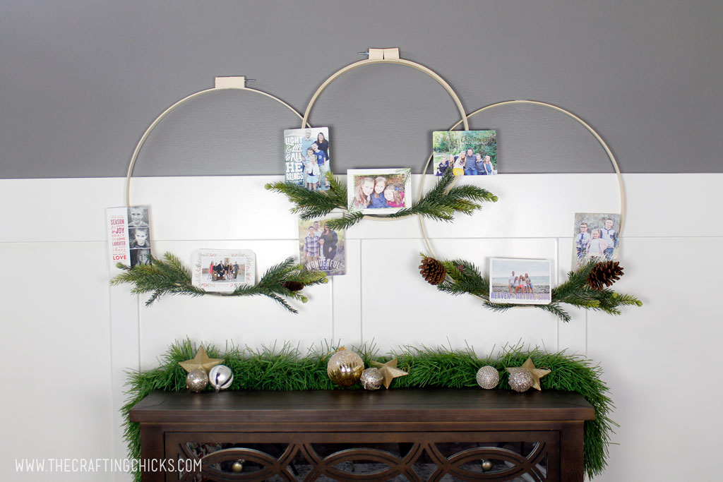 Hoop Wreath Christmas Card Holders - The Crafting Chicks