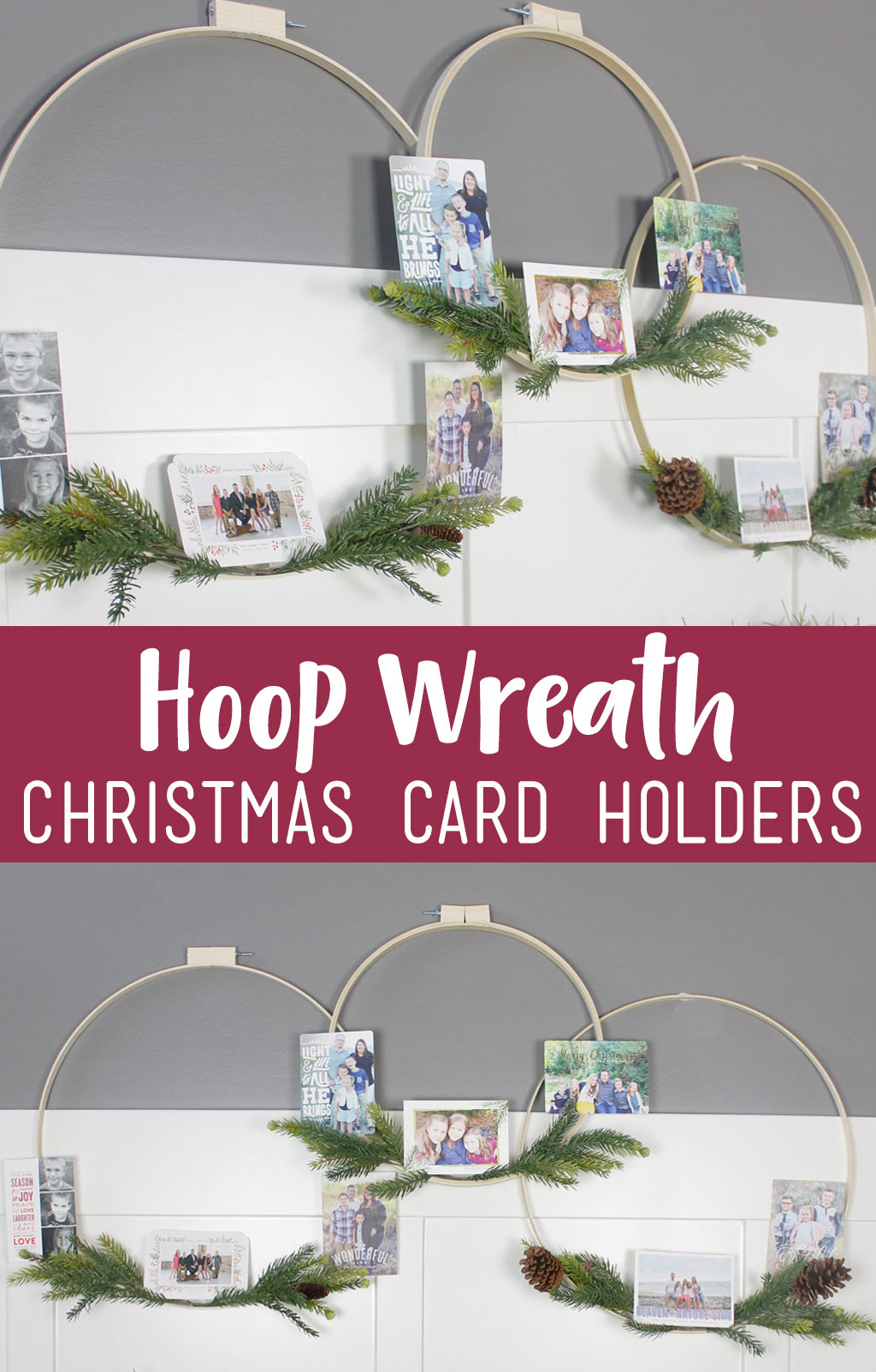 If you love displaying your holiday cards, you are going to love making these Hoop Wreath Christmas Card Holders. They are perfect as home decor, but double to display your @Minted holiday cards. #hoopwreath #christmascarddisplay #chirstmascardholder #Mintedholiday #spons
