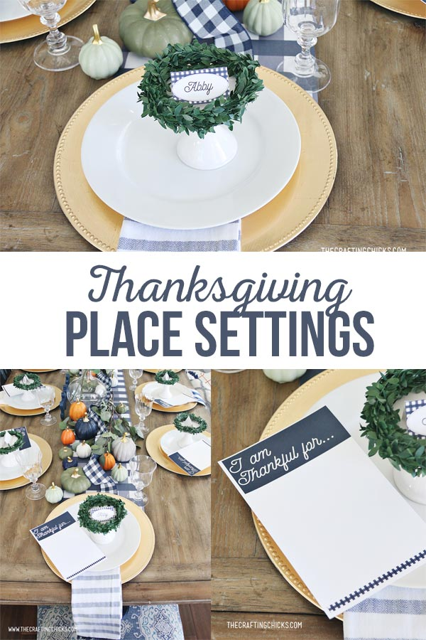 Thanksgiving Place Setting printable in navy blue.