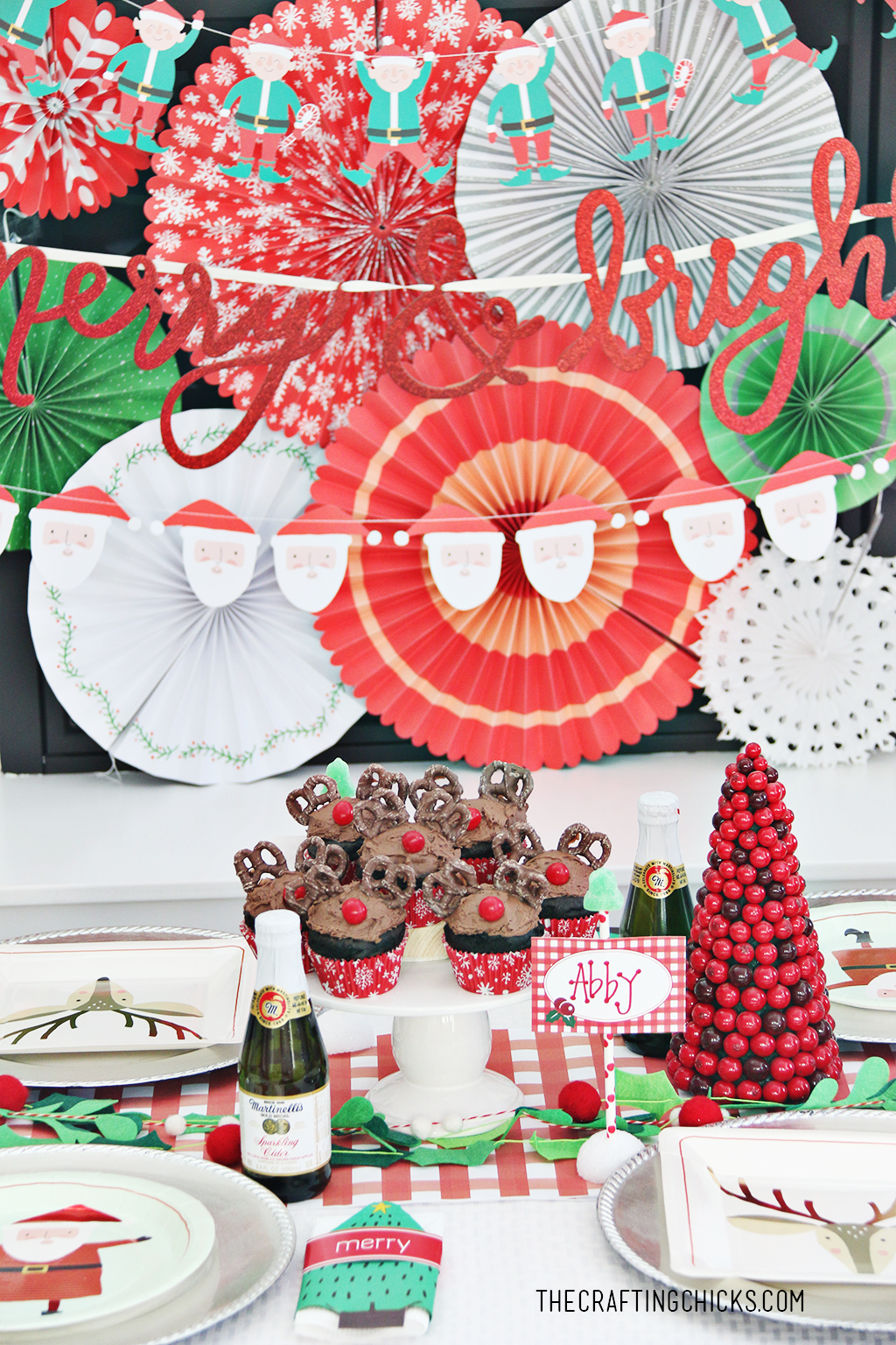 Christmas Party Table for Kids with bright red and green colors!