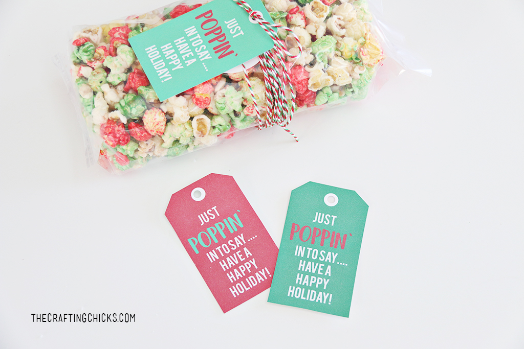 Just Poppin' In Christmas Popcorn Tags to add to popcorn for a Christmas gift idea.