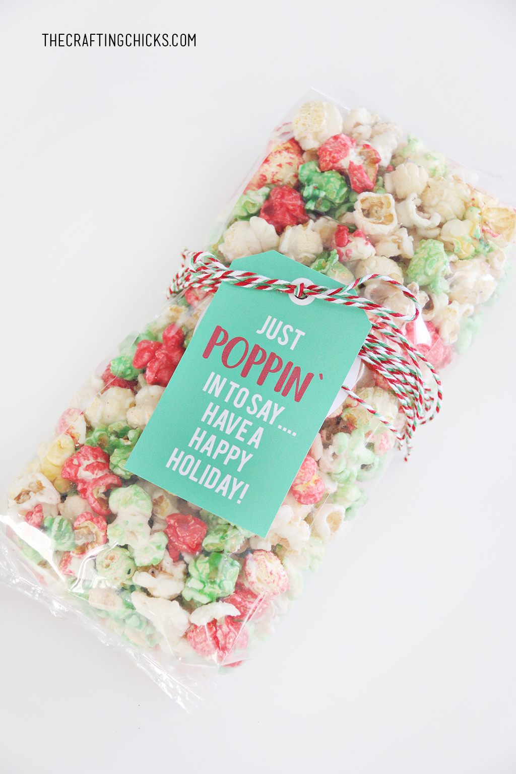 Just Poppin' In Christmas Popcorn Tag wrapped to a bag of holiday popcorn with bakers twine.