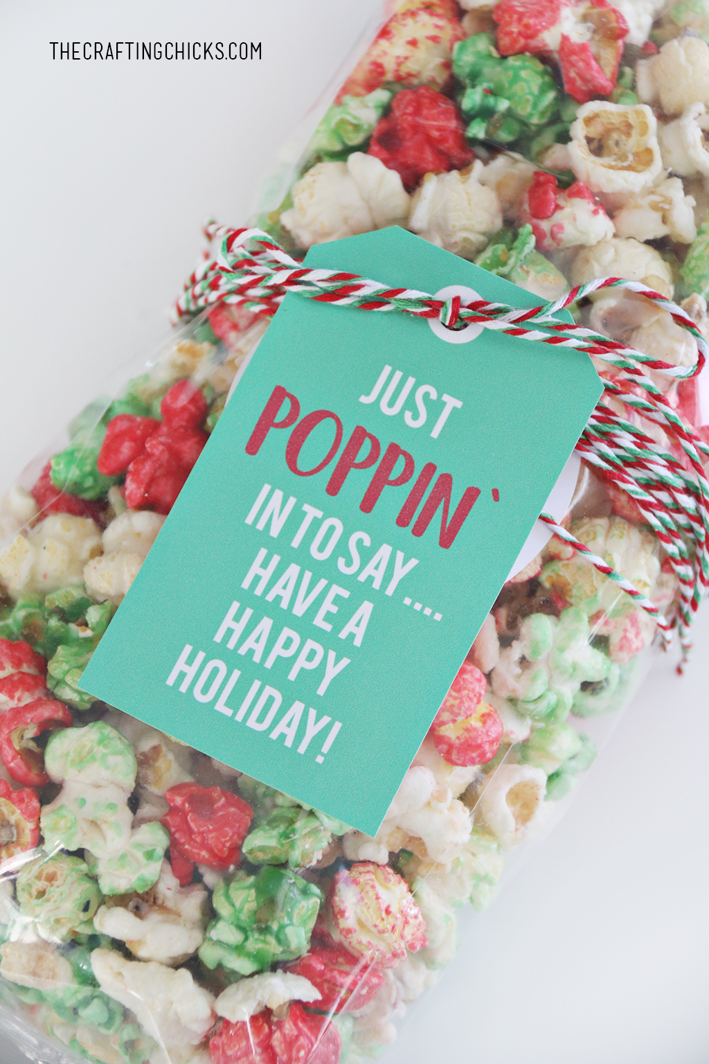 Just Poppin' In Christmas Popcorn Tag added to red, green, and white popcorn for a holiday gift idea.