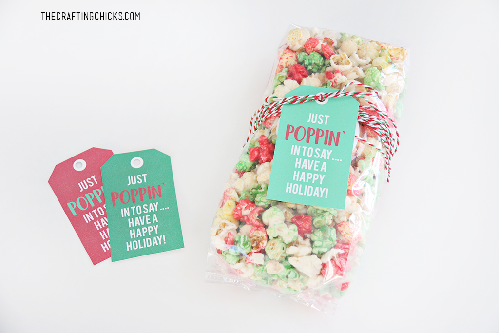 Just Poppin' In Christmas Popcorn Tag for gifting popcorn for Christmas
