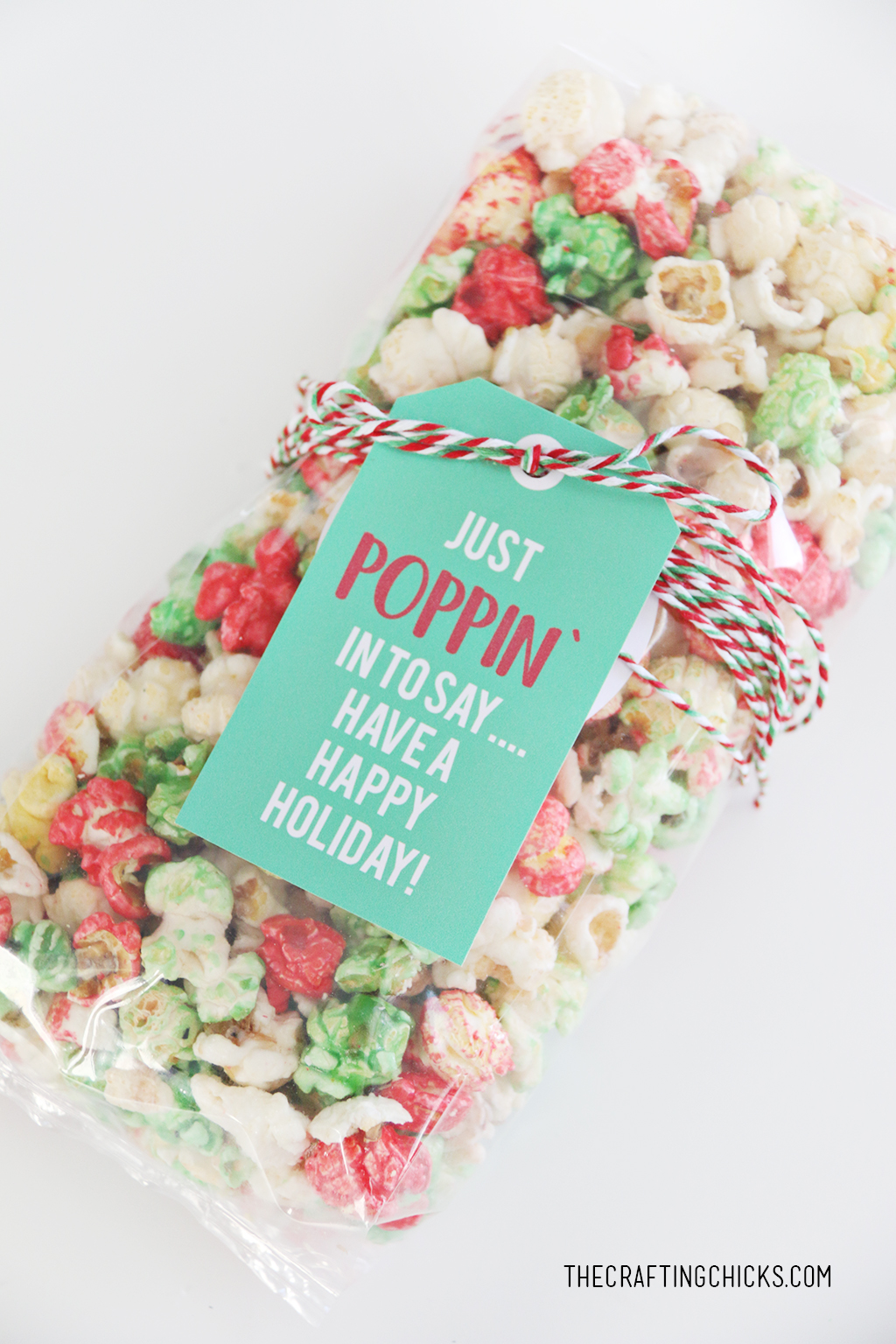 Easy Christmas gift idea with Just Poppin' In Christmas Popcorn Tag on a bag of red, green, and white popcorn.
