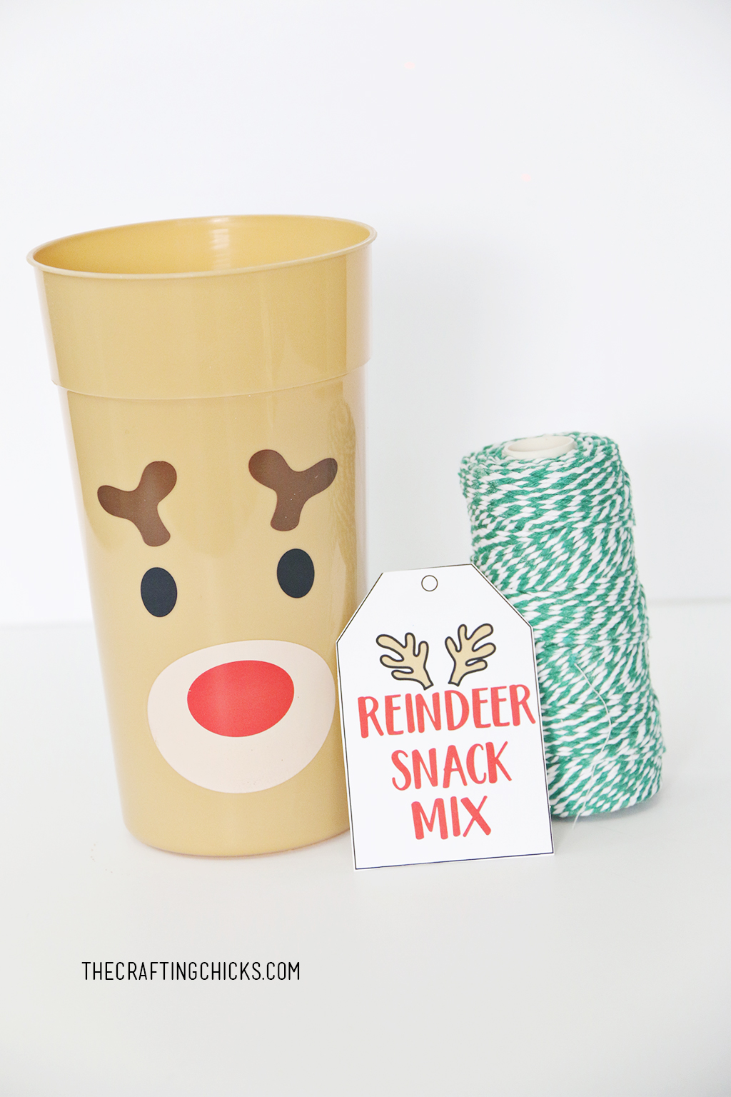 Reindeer tumbler cup with gift tag and green bakers twine.