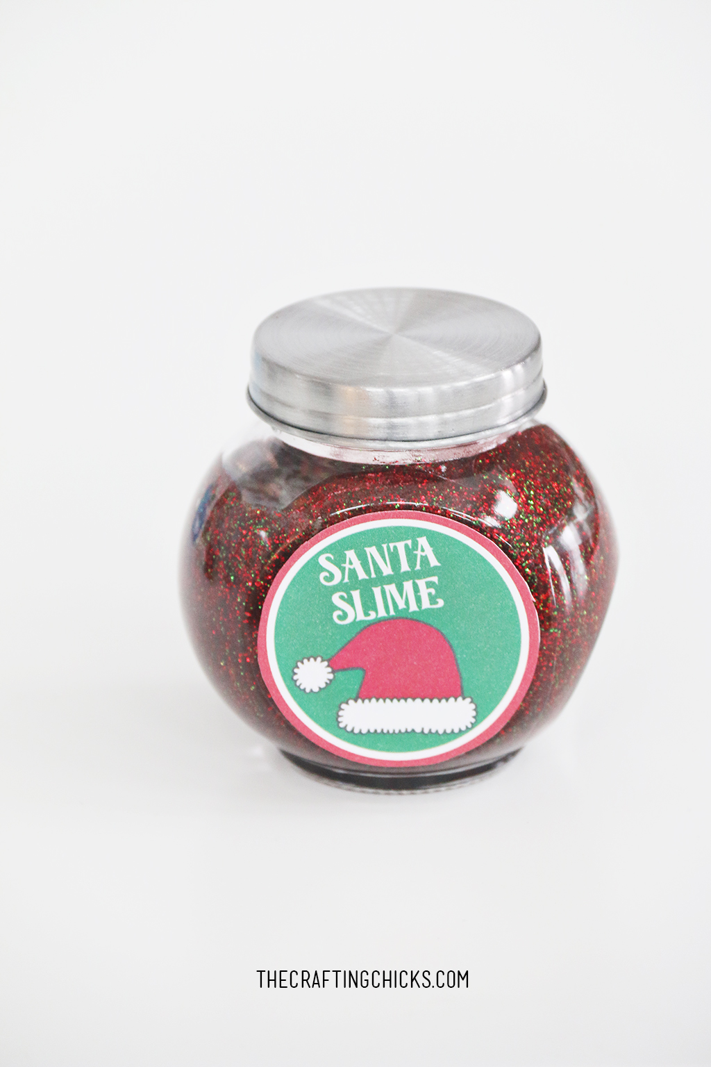 Santa Slime in a small glass jar with lid