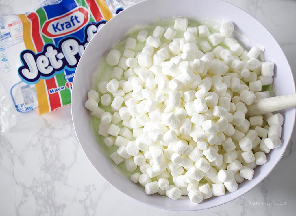 Mini marshmallows mixed into a Watergate Salad