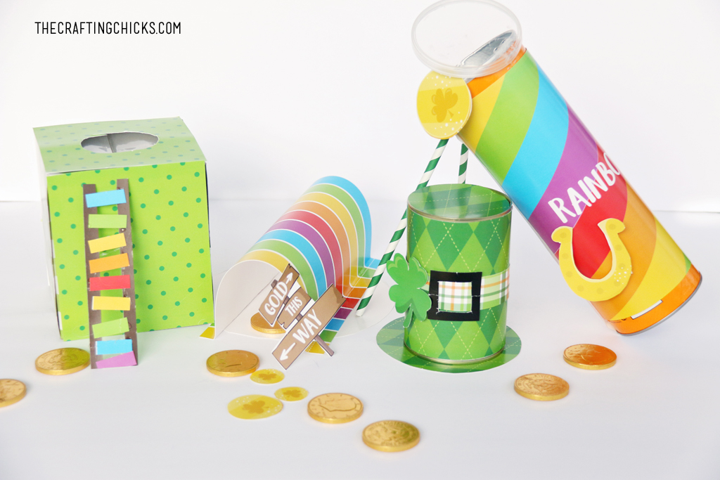 Leprechaun Trap Printables to make leprechaun traps for kids. Green and rainbow printables that come with everything you need.