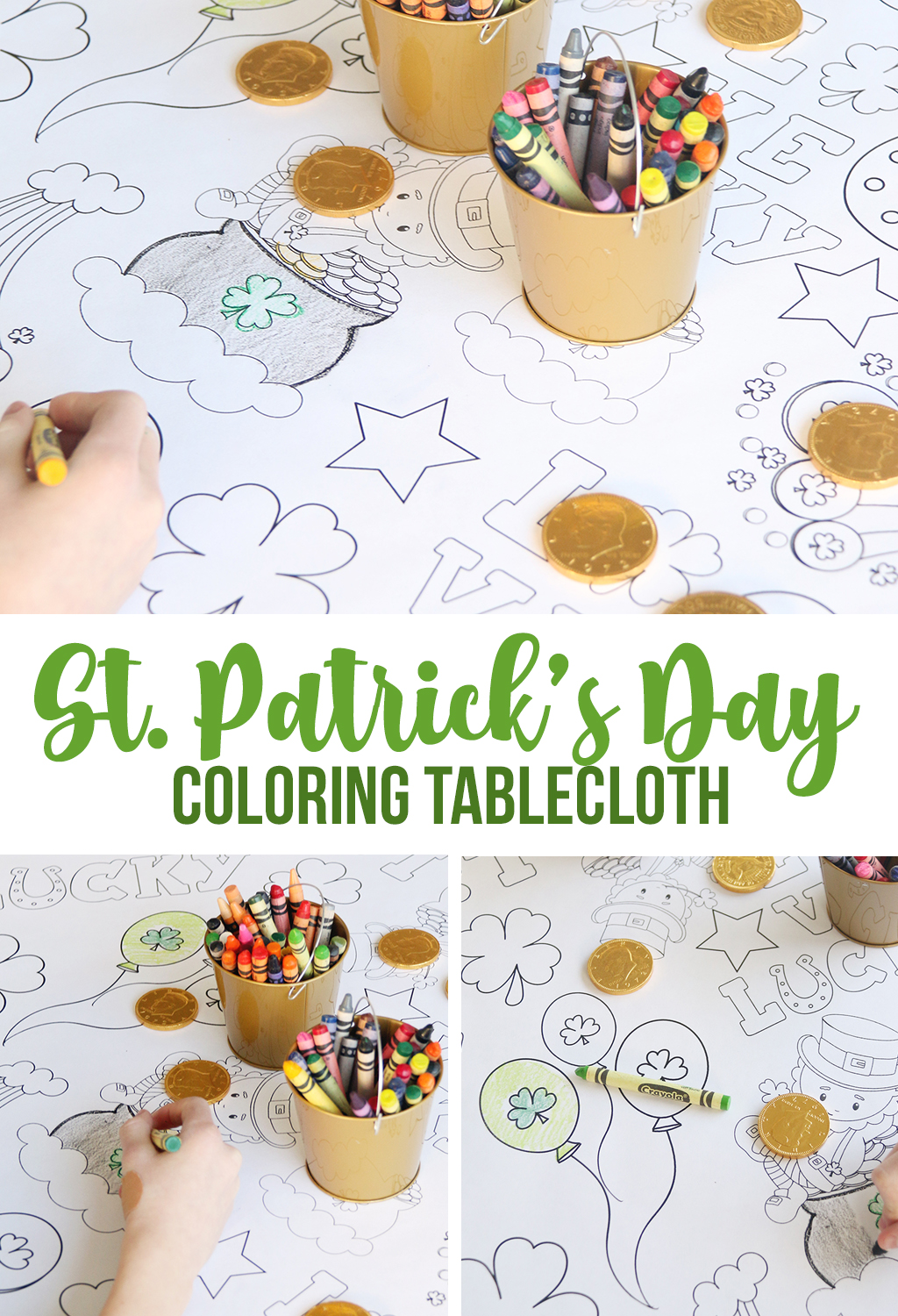 St. Patrick's Day Coloring Tablecloth. Printable tablecloth to color.