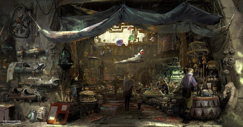 Artist Rendering of Battu & Black Spire Outpost at Star Wars: Galaxy Edge at Disneyland Resort