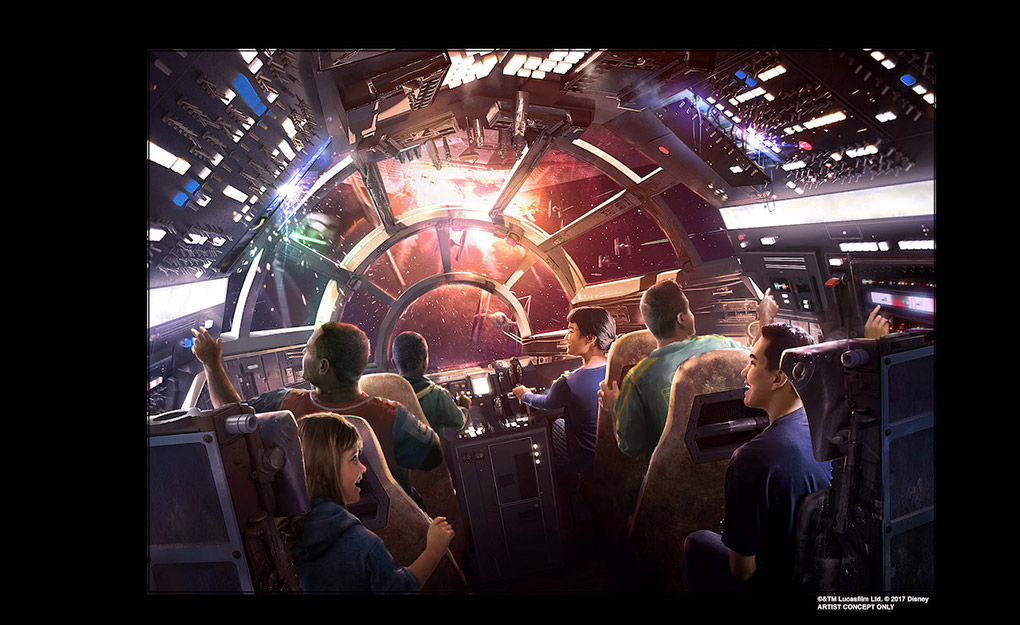 Artist concept of Millennium Falcon: Smuggler's Run at Star Wars: Galaxy Edge at Disneyland Resort