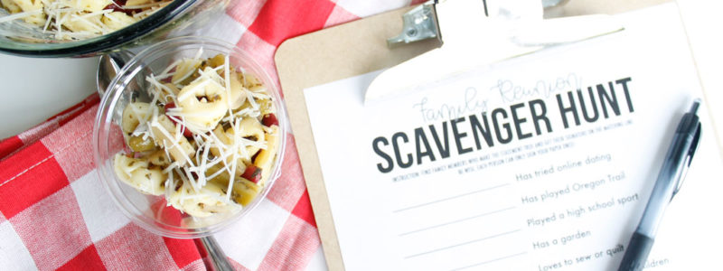 Basil Pesto 3-Bean Tortellini salad and Family Reunion Scavenger Hunt printable on table.
