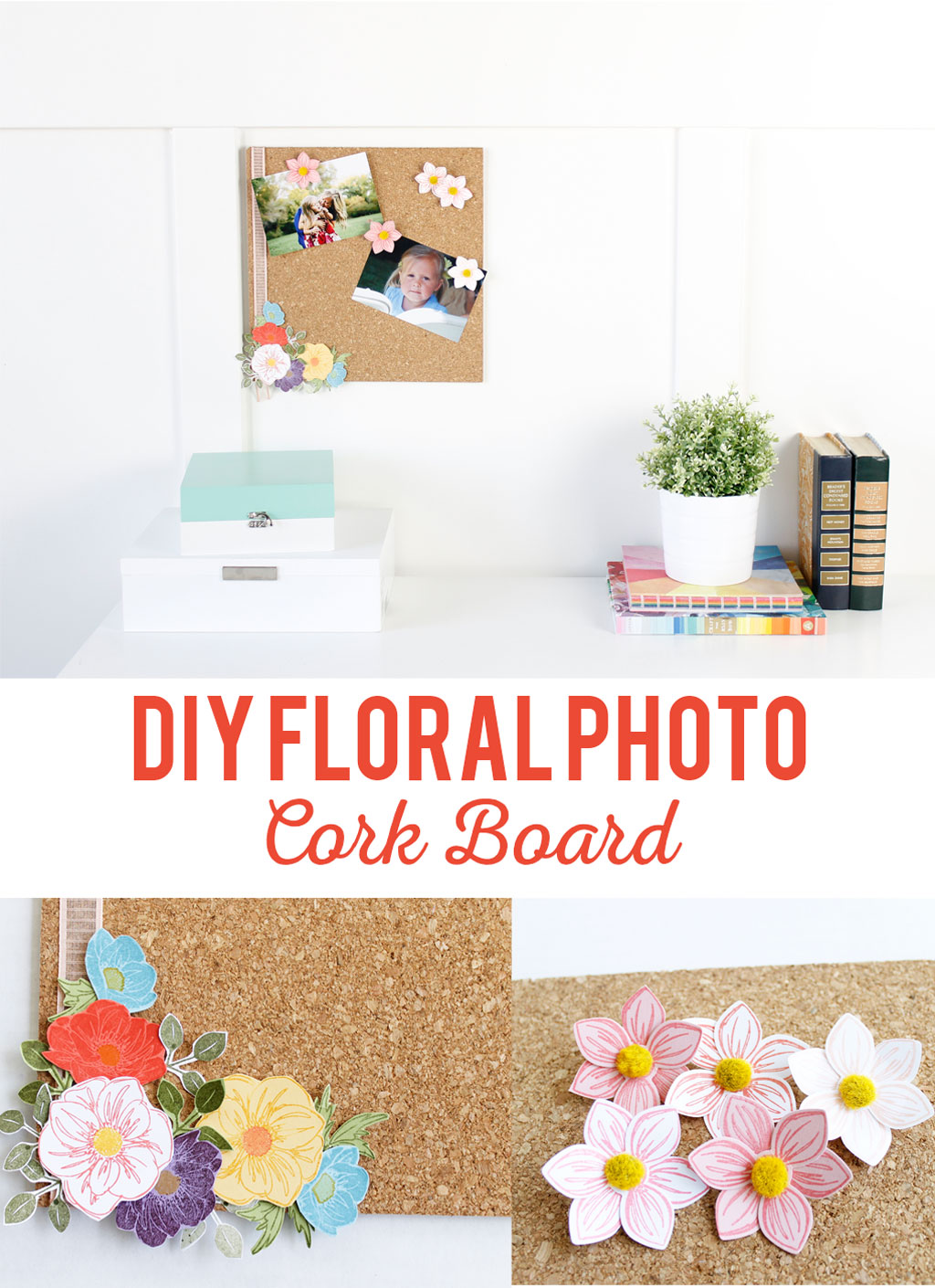 Cork board with flowers desk set up