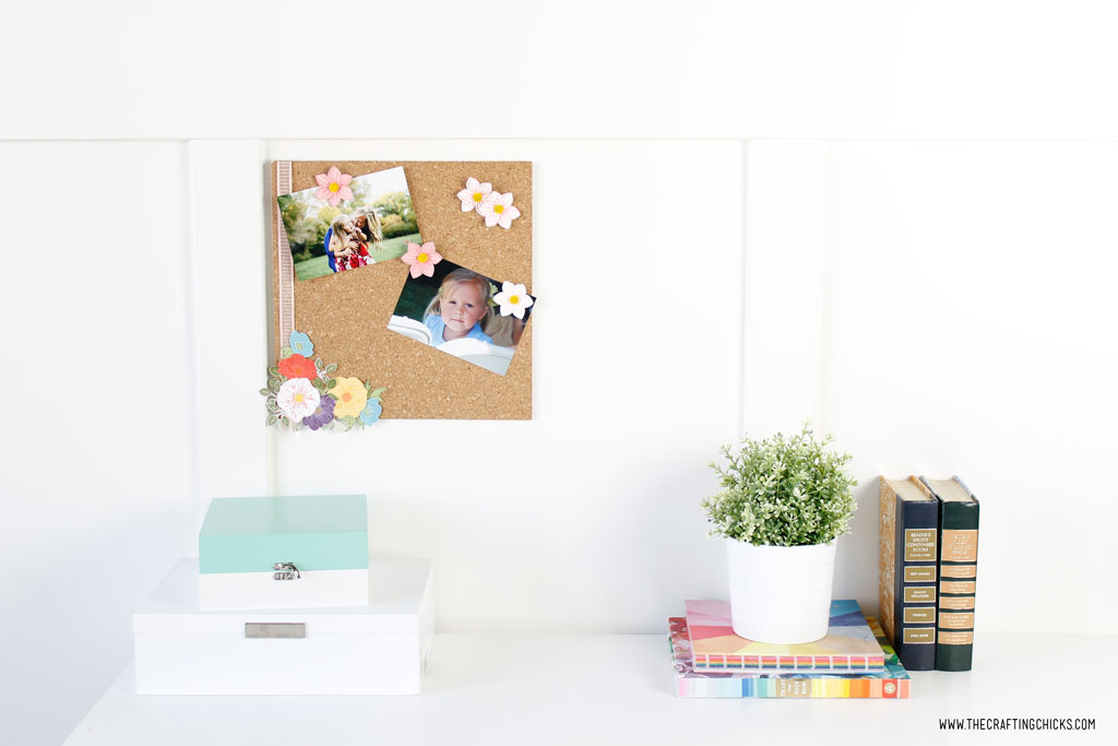 DIY Floral Photo Cork Board desk set up