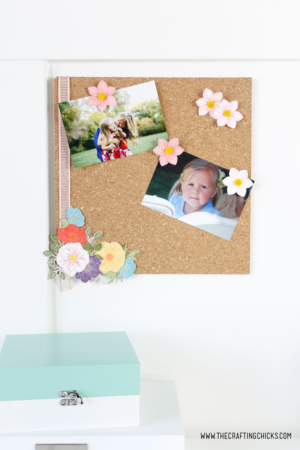 DIY Floral Photo Cork Board desk set up.