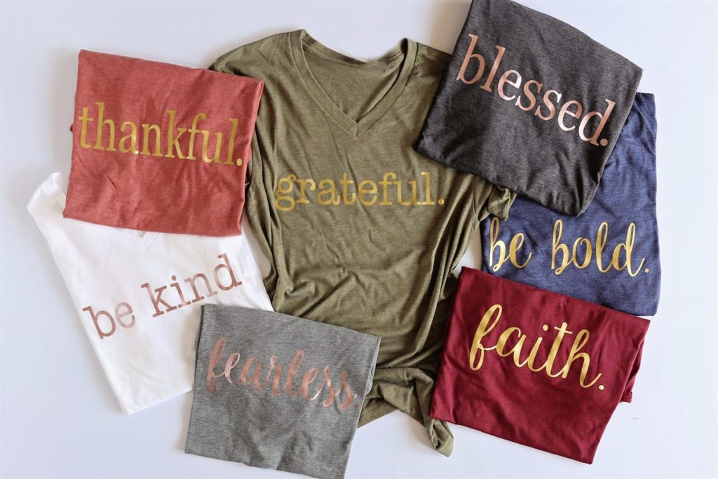 Fall Statement Tee shirt with gold words for Fall Wardrobe Must Haves
