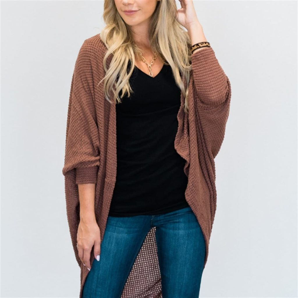Dolman Waffle Knit Cardigan in brown Fall Wardrobe Must Haves
