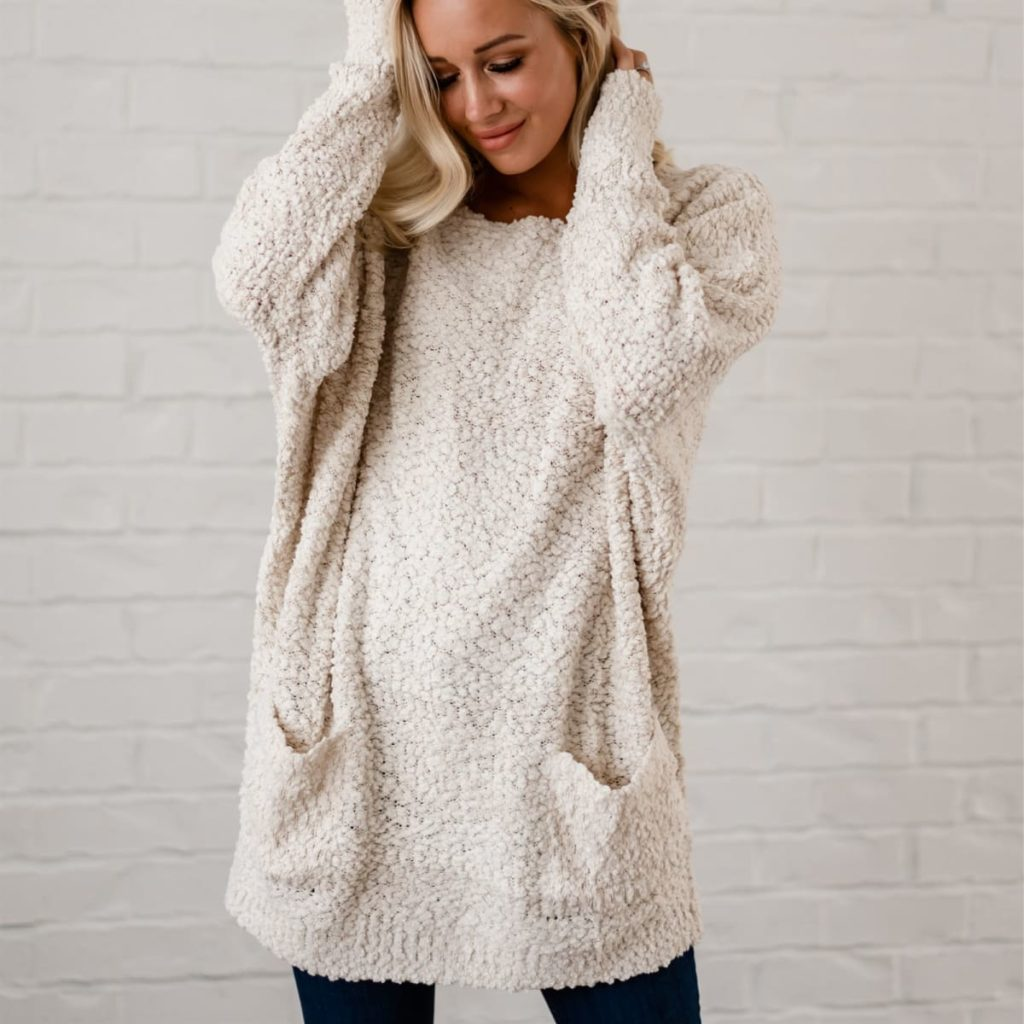 Fall Knit Tunic Sweater in creamy white