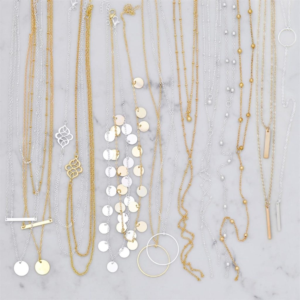 Gold and silver dainty necklaces