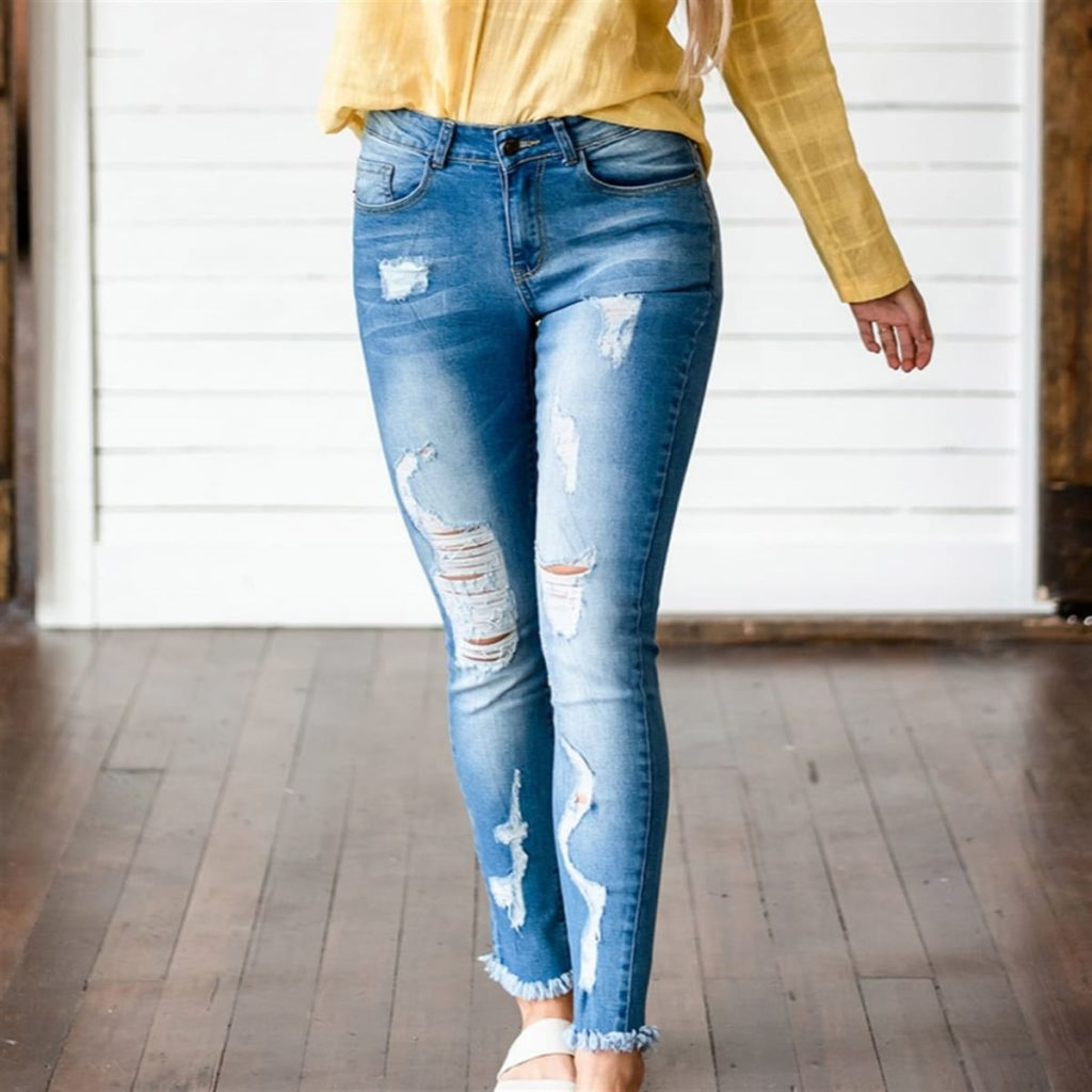 Distressed Blake Skinny Jeans in blue