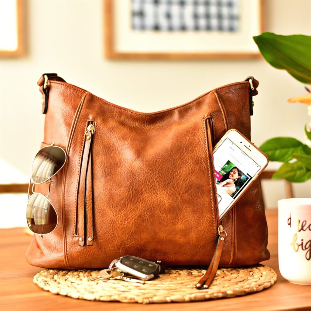 Brown Vegan Leather tote bag