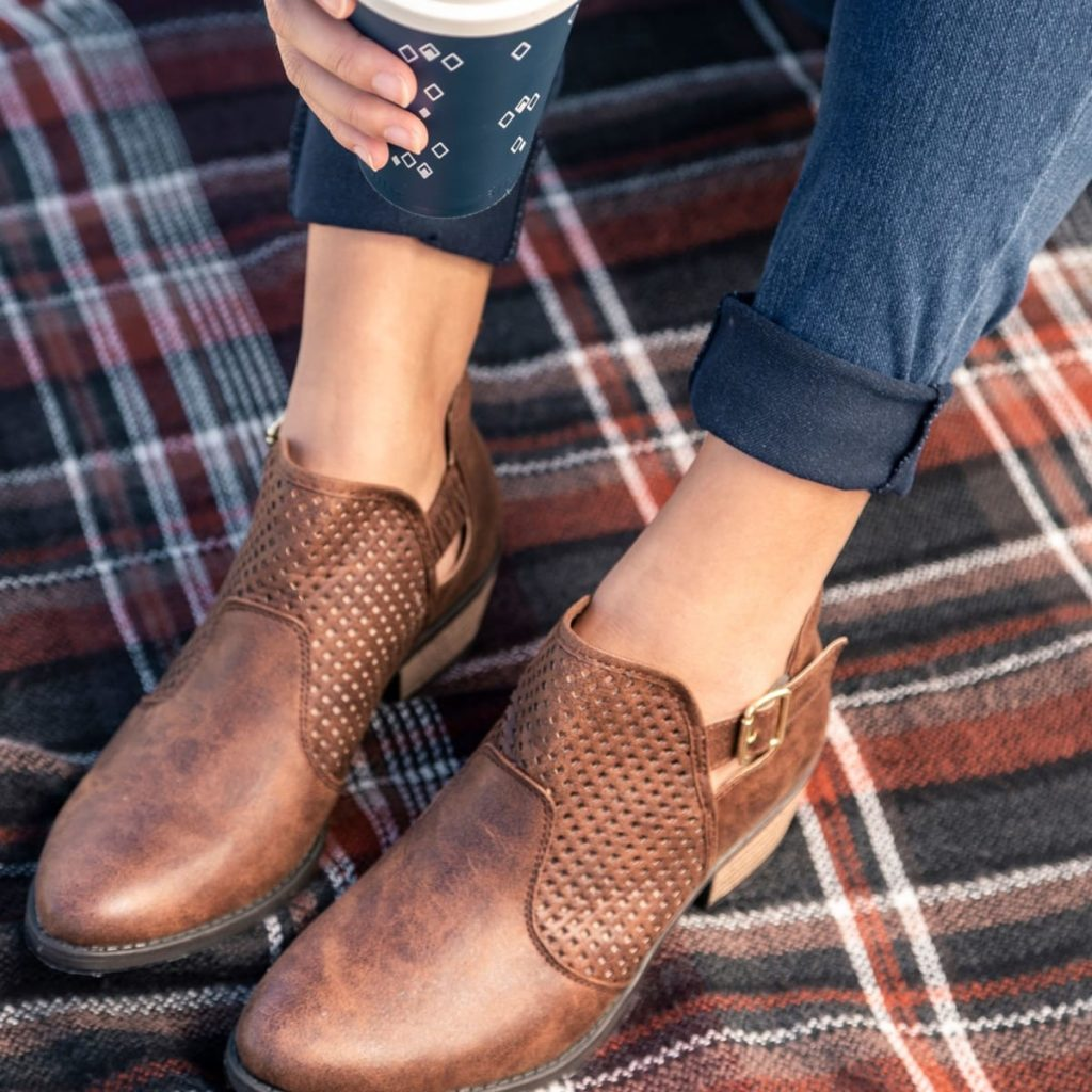 Brown leather Perforated western ankle booties