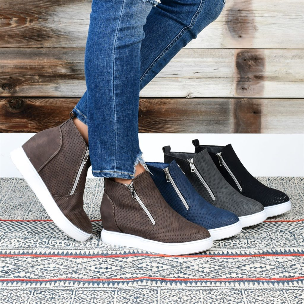 Stylish High Top Wedge sneakers in multiple colors