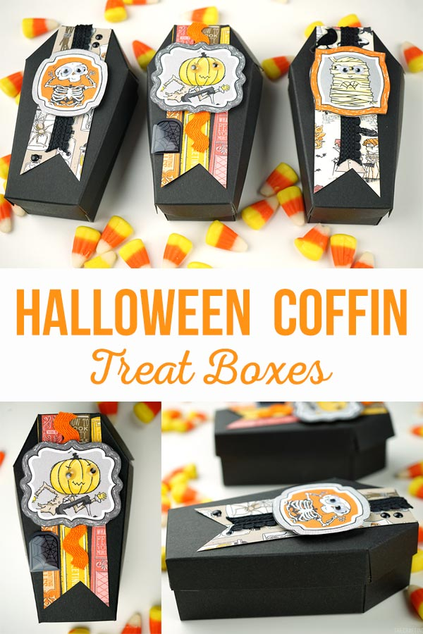 Black paper coffin treat holders decorated with cute Halloween paper for treat boxes