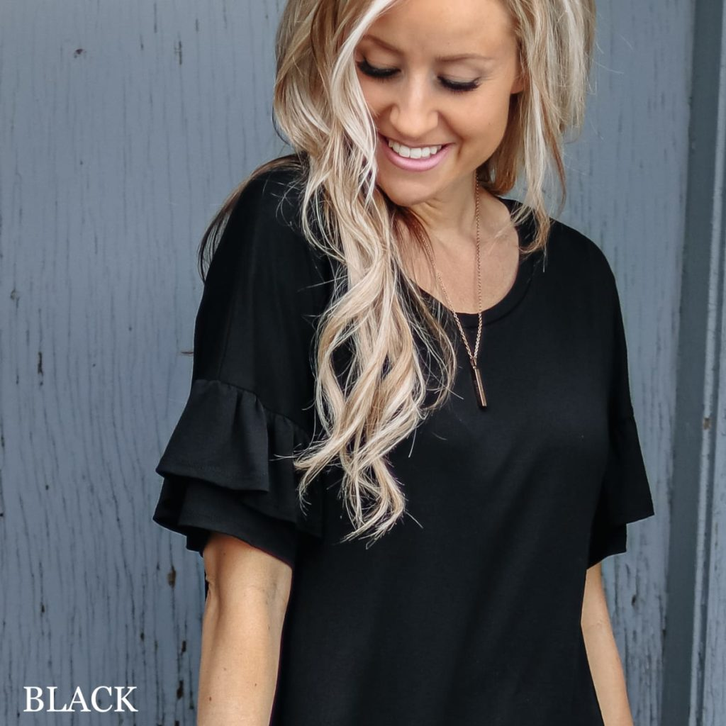 Fall clothing ruffle sleeve tunic in black