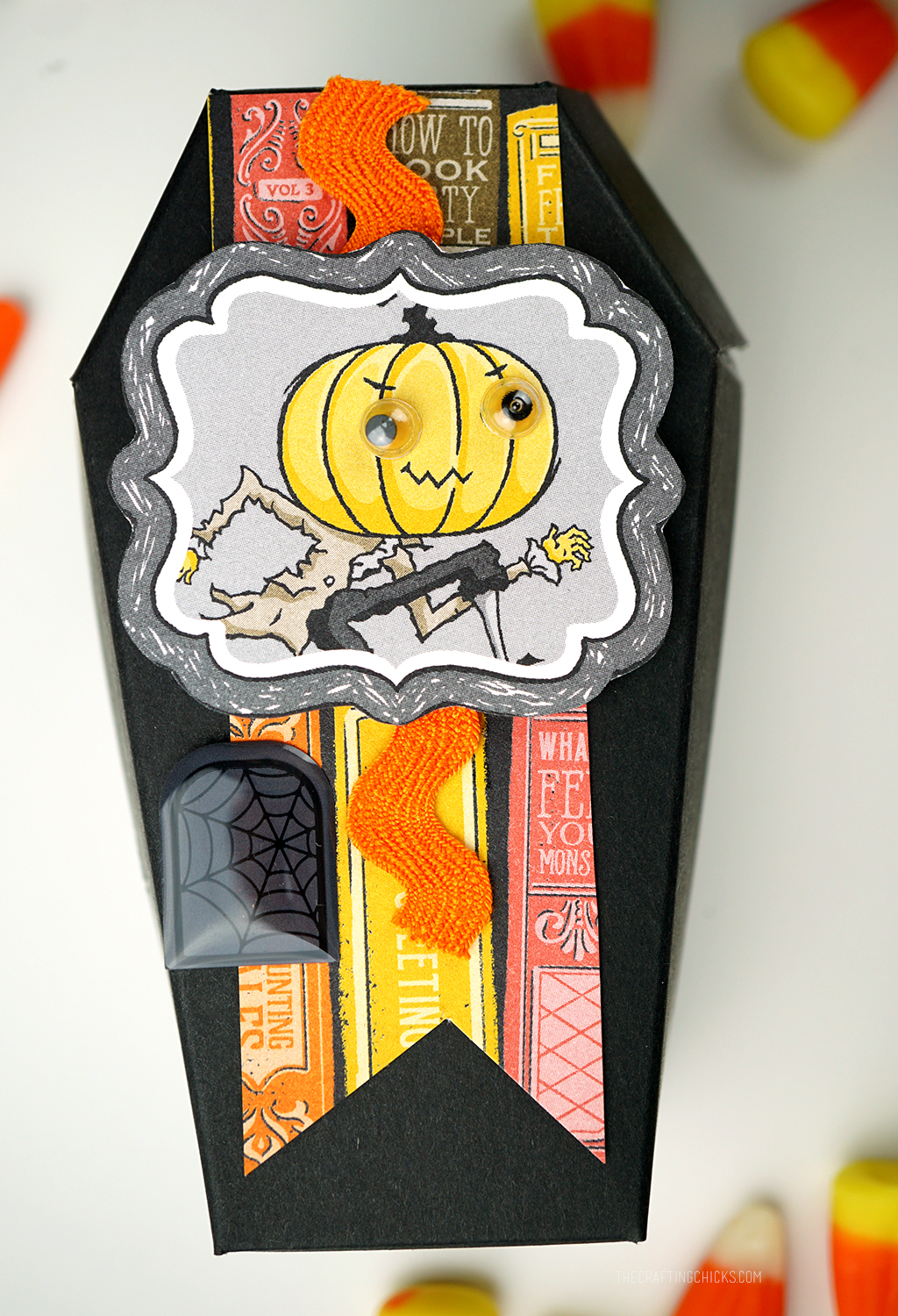Black Paper Coffin with Halloween paper to decorate as a Halloween Treat Box