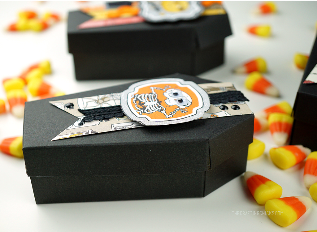 Black Paper Coffins with cute Halloween Paper Tags from Stampin Up