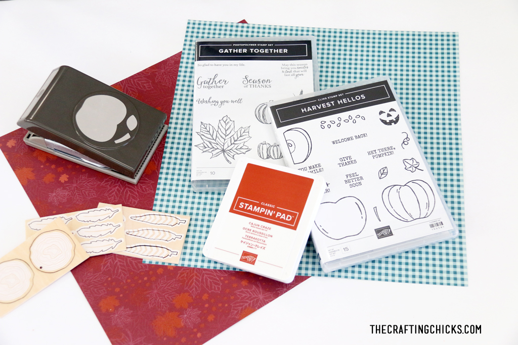 Stampin Up pumpkin stamp sets with wooden feathers and fall paper.