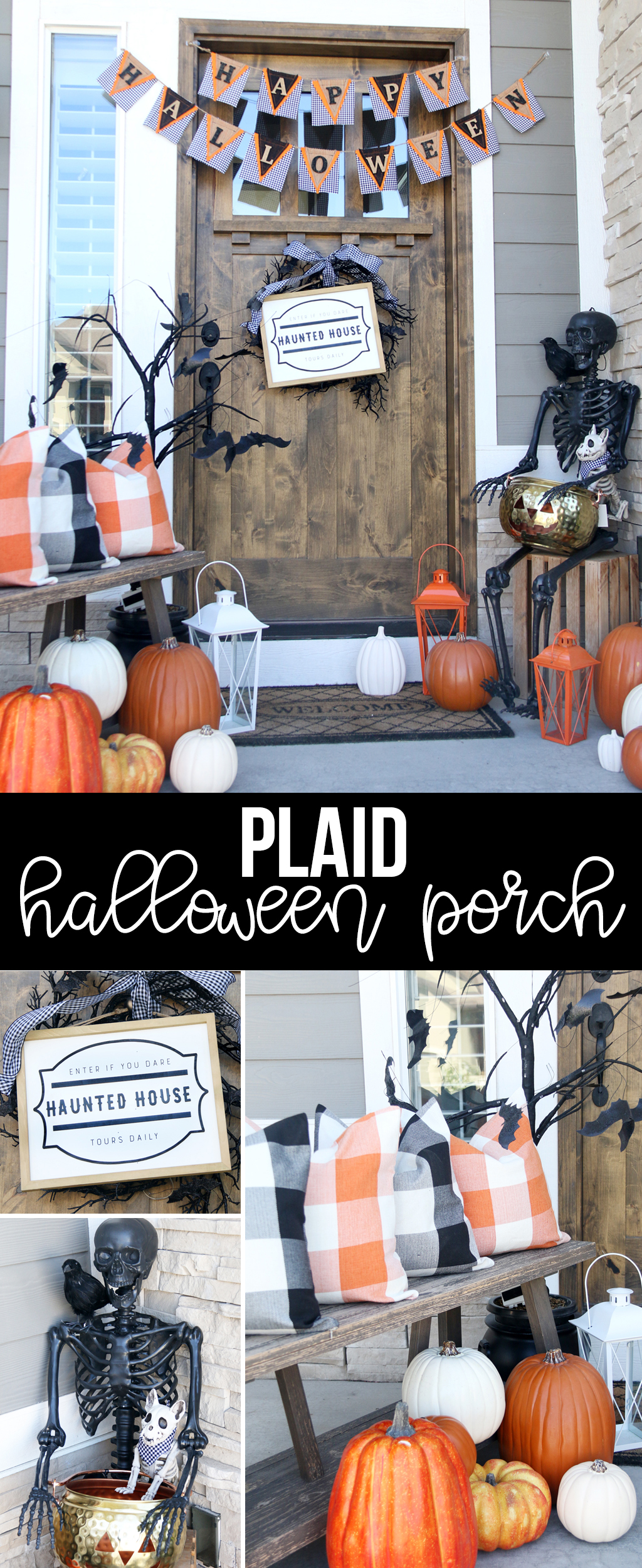 Cute Plaid Halloween Porch