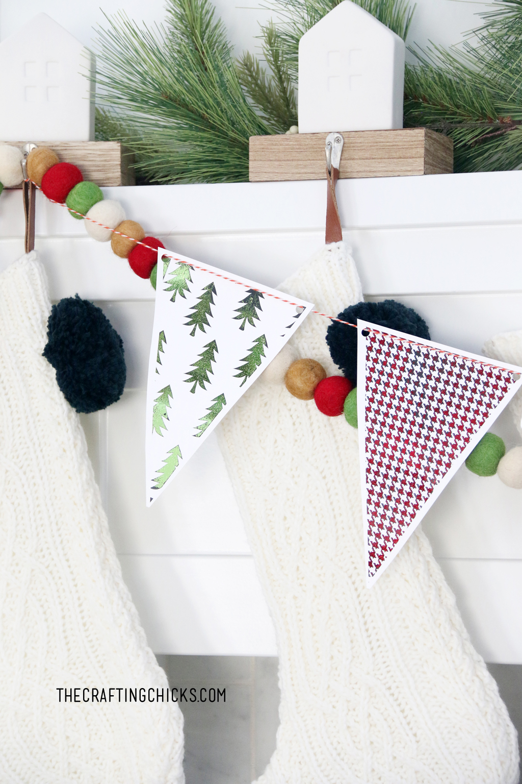 Adorable green foiled banner for Christmas Decoration