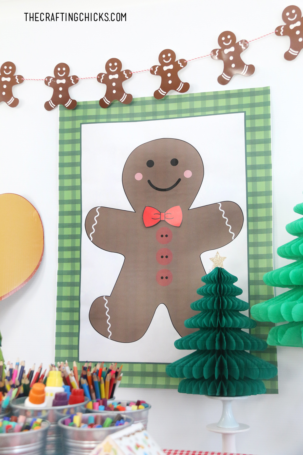 Pin the Bow Tie on the Gingerbread Man Printable game