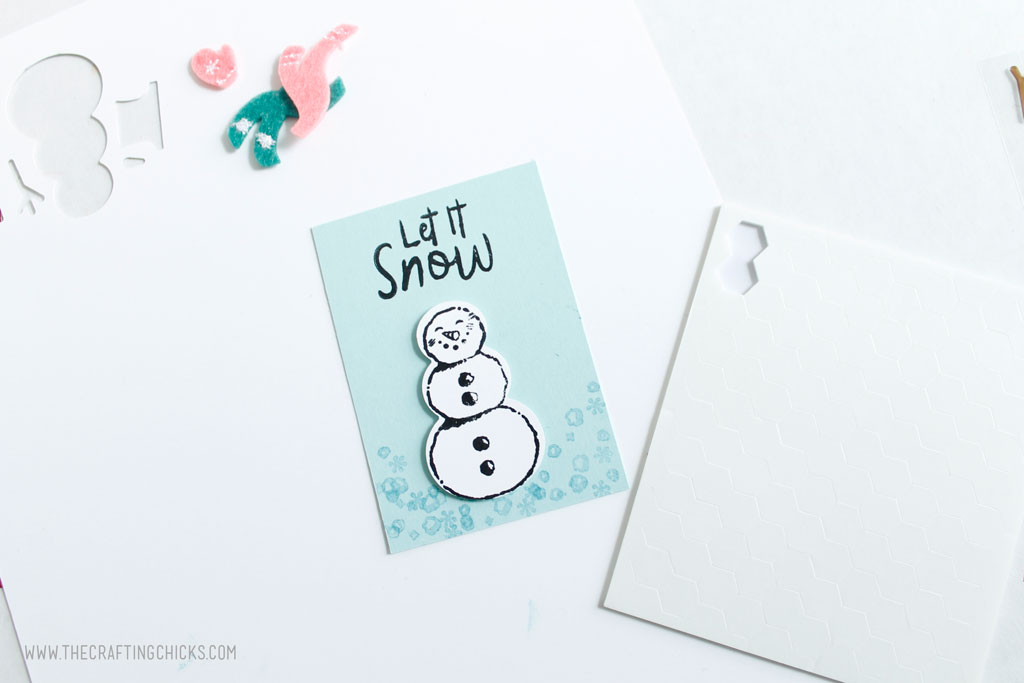 Stamped Snowman added to gift tag