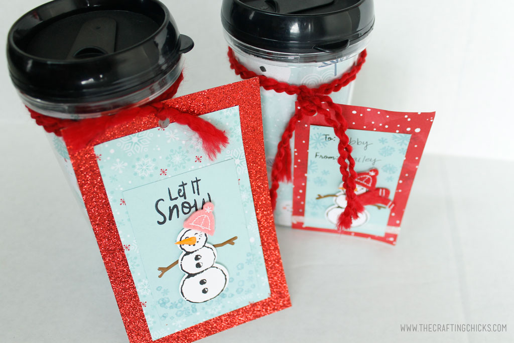 Stamped Snowman Gift tag on DIY Mug
