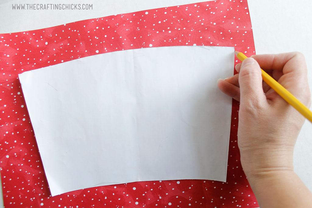 Tracing DIY Mug template on holiday paper