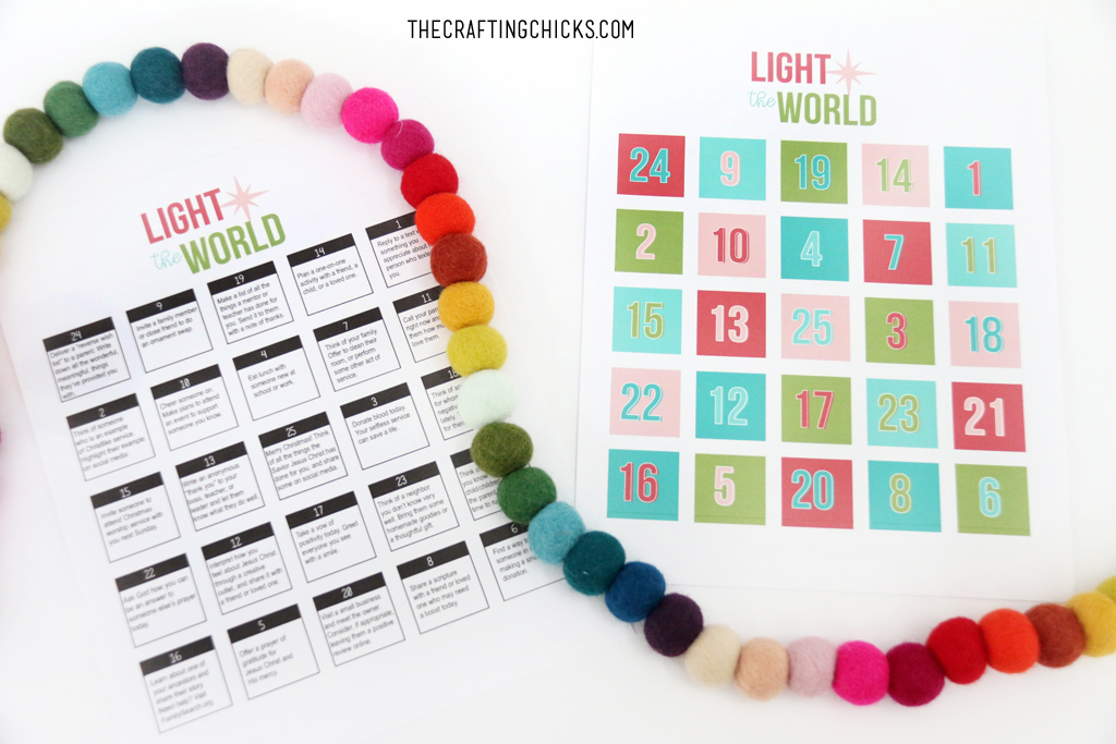 This Christmas season we are finding ways to Light the World. We put together this fun Light the World Advent printable to make it easy for you to do in your own home.