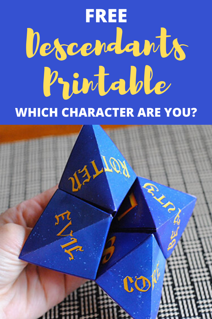 Free Descendants Printable which character are you image with finished fortune teller.