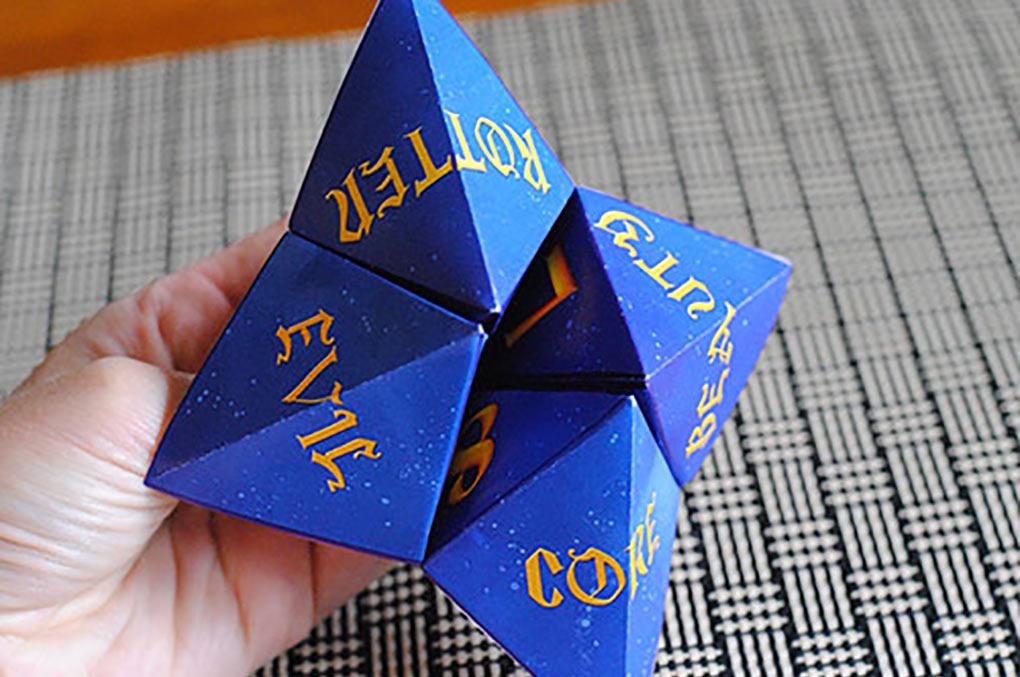 Descendants fortune teller printable folded into a fortune teller.