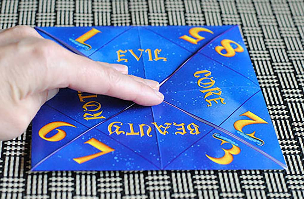 Descendants fortune teller printable folded over to make a fortune teller.
