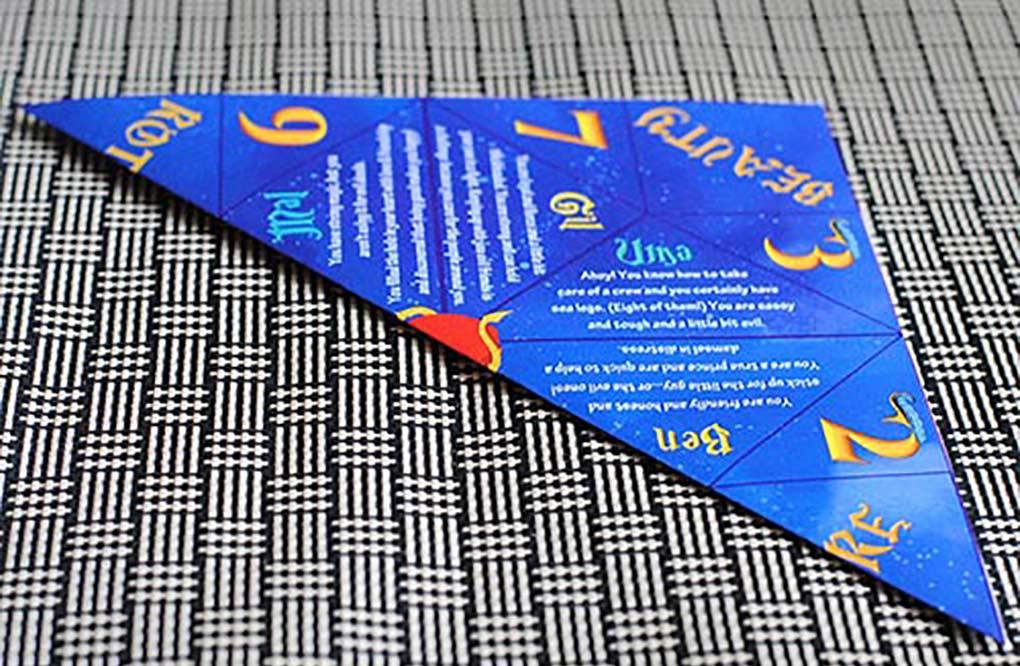 Descendants fortune teller printable folded in half to make a fortune teller.